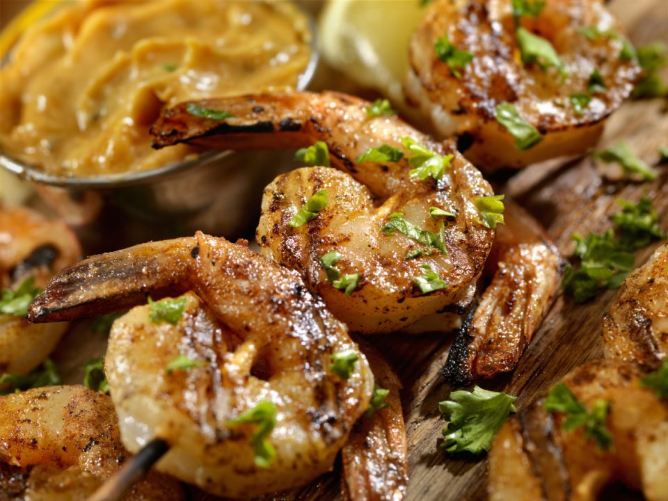 Cajun Grilled Shrimp prepared in a restaurant