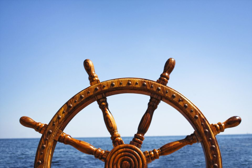 Wooden Helm Wheel for a boat on the Pensacola Sail Away Tour
